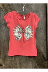 GIRL'S CORAL FEATHER PRINT SHIRT