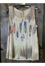 LADIES TANK TOP WITH FEATHERS & STONES