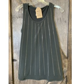 LADIES BLACK TANK W/STONES