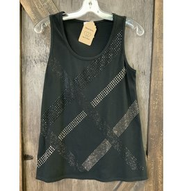 LADIES BLACK SLEEVELESS TOP WITH STONES