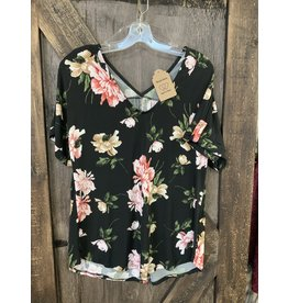 LADIES S/S BLACK FLORAL TOP