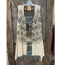 LADIES AZTEC PRINT VEST W/SHEER BACK