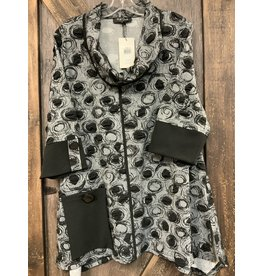 LADIES BLACK DOT PRINT ASSYMMETRIC TUNIC