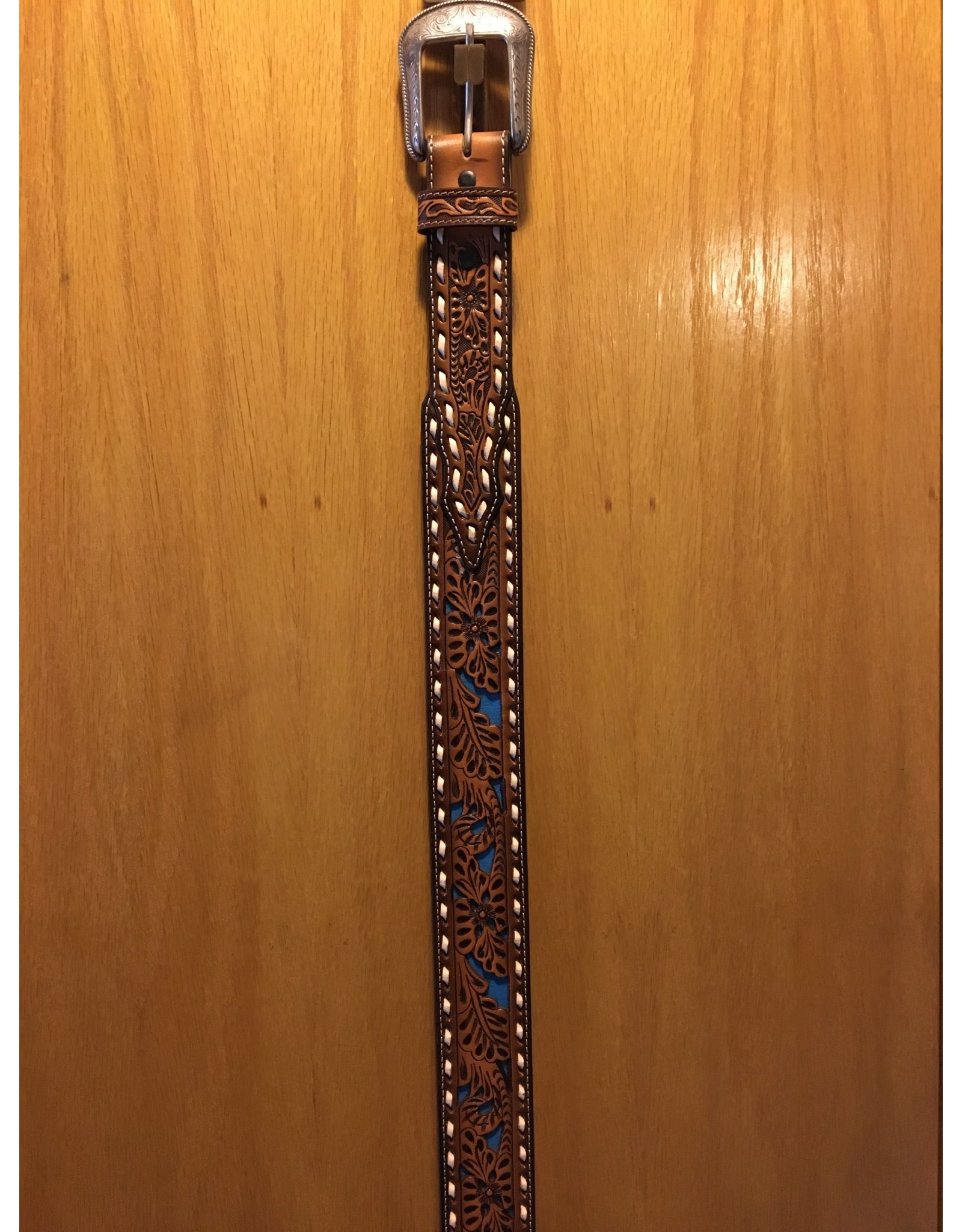 3D MEN'S BROWN LEAVES WITH TURQUOISE ACCENT BELT