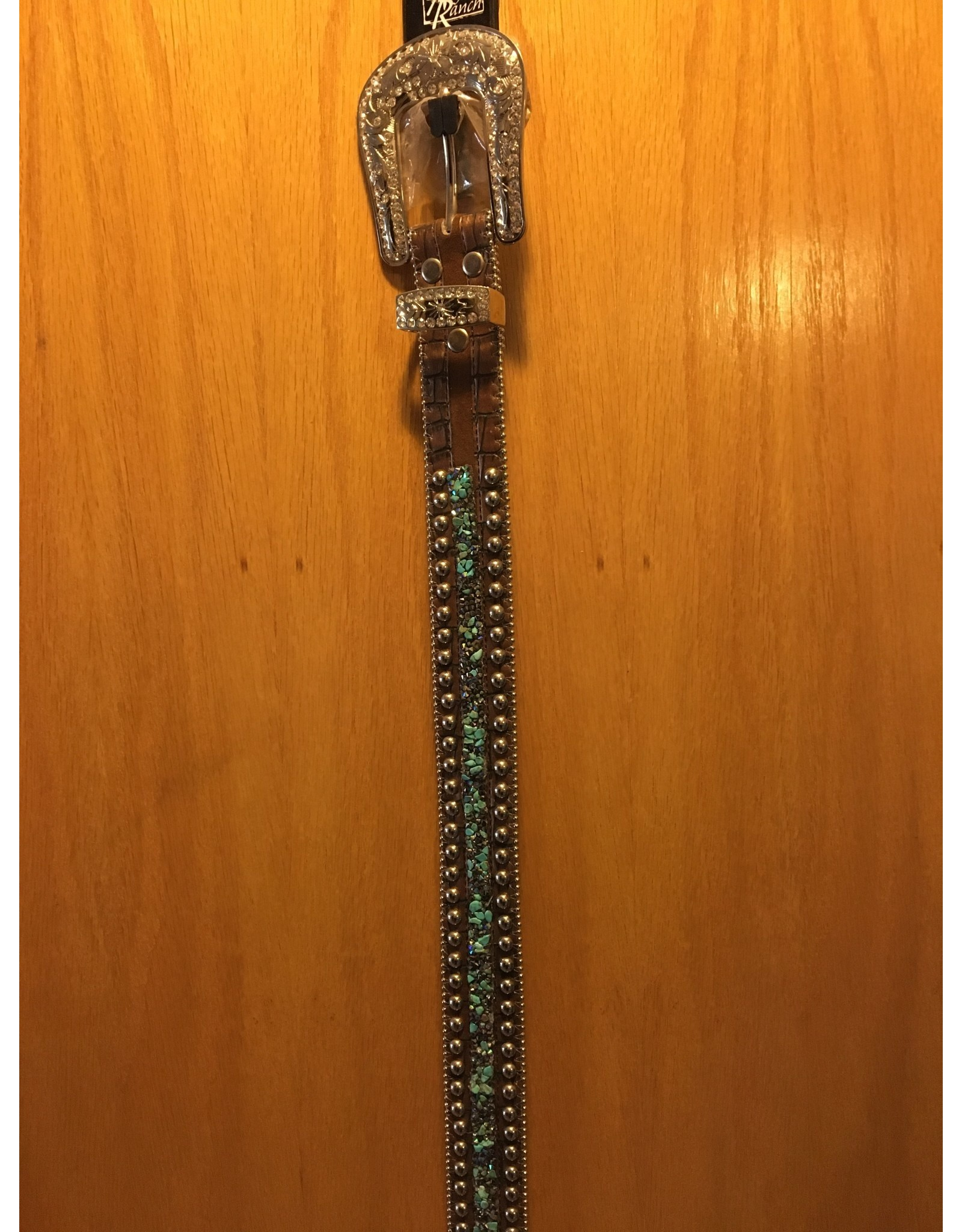 ANGEL RANCH LADIES TURQUOISE EMERALD SILVER STUDDED BELT