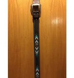 NOCONA MEN'S HAND SITICHED TURQOISE/BROWN/WHITE WITH SILVER STUDS BELT