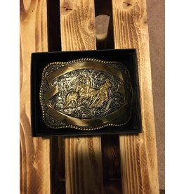 CRUMRINE MEN'S TEAM ROPING WITH GOLD RIBBON BELT BUCKLE