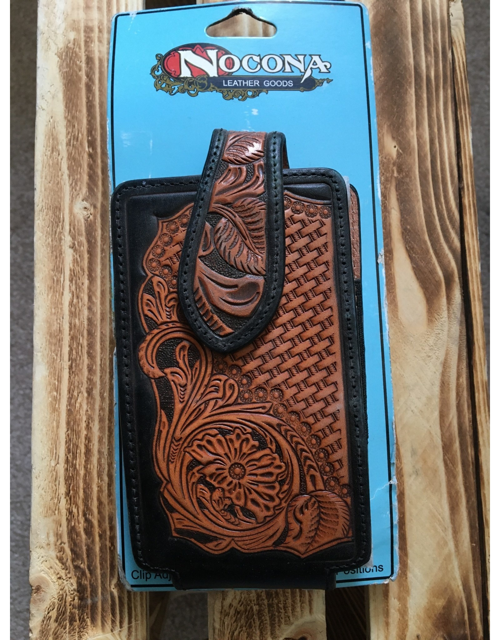 NOCONA TAN LEATHER FLORAL AND BASKET TOOLED CELL PHONE CASE
