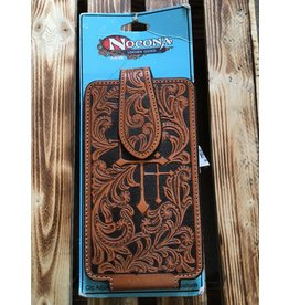 NOCONA LEATHER WITH 3 EMBOSSED CROSSES CELL PHONE CASE