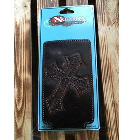 NOCONA DISTRESSED BROWN LEATHER W/CROSS CELL PHONE CASE