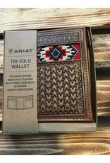 ARIAT TRI-FOLD AZTEC INLAY LEATHER WALLET