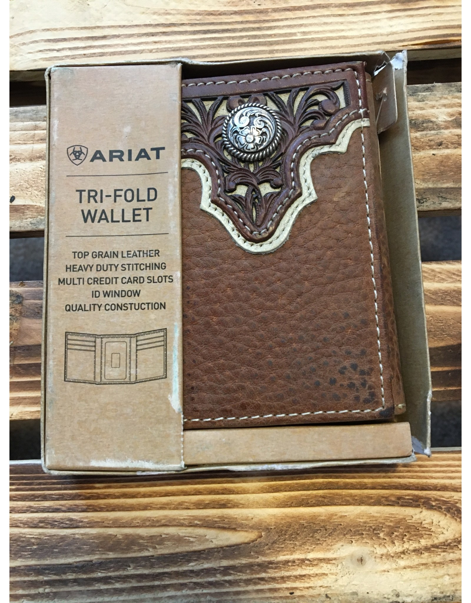 ARIAT  TRI-FOLD TOPE INLAY TOP CIRCLE LEATHER WALLET
