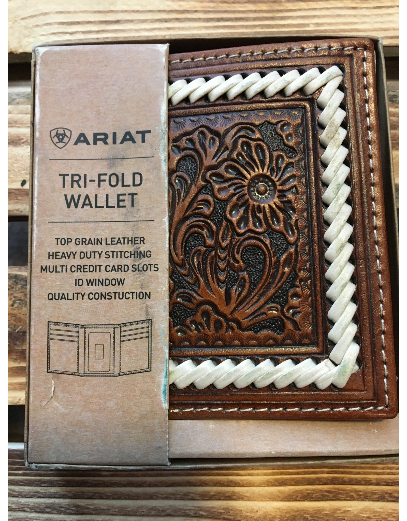 ARIAT TRI-FOLD FLORAL EMBOSSED LACE LEATHER WALLET