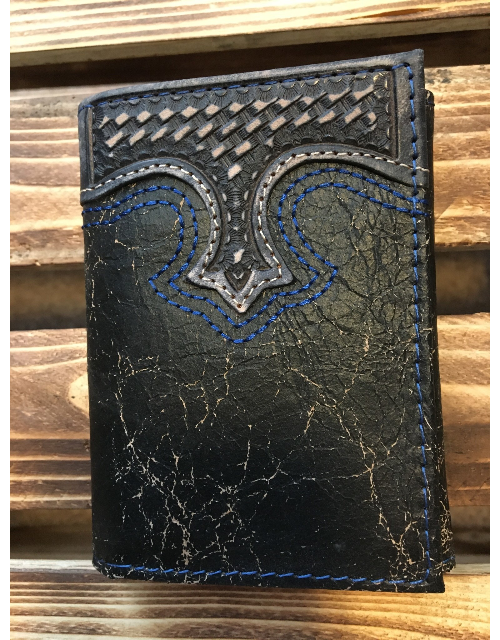 3D TRI-FOLD EMBOSSED DISTRESSED BLACK LEATHER WALLET