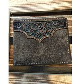 3D BI-FOLD TOOLED OVERLAY DISTRESSED LEATHER WALLET