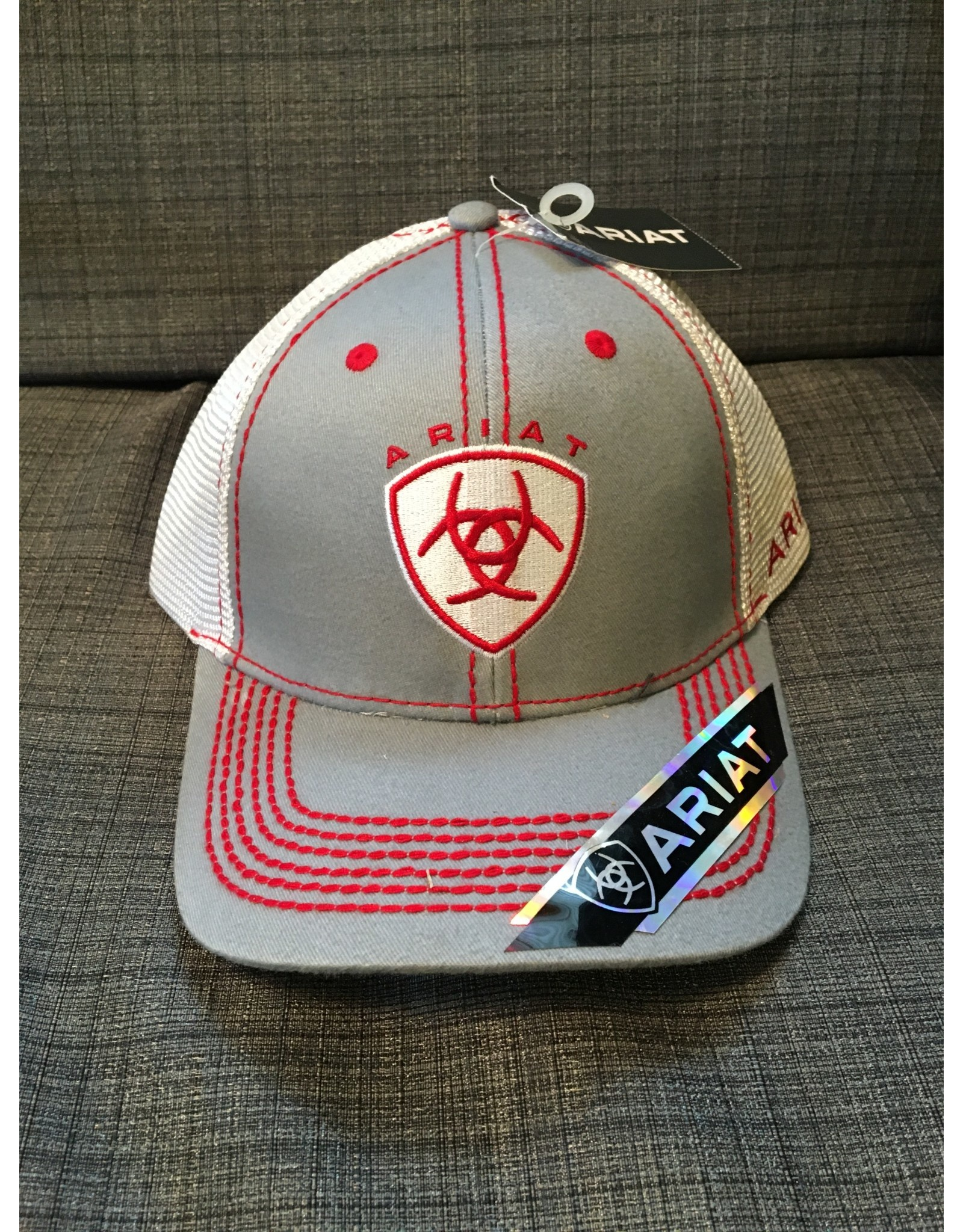 ARIAT LOGO GREY WITH RED SITITCHING MEN'S BALL CAP