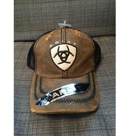ARIAT DISTRESSED BROWN OILSKIN MEN'S BALL CAP
