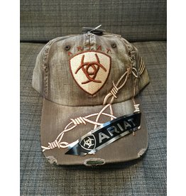 ARIAT DISTRESSED BROWN BARBED WIRE MEN'S BALL CAP