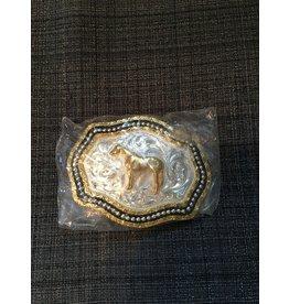 3D GOLDEN HORSE YOUTH BELT BUCKLE