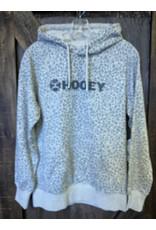 Hooey HOOEY LADIES HEATHER GREY HOODY WITH SNOW LEOPARD PATTERN