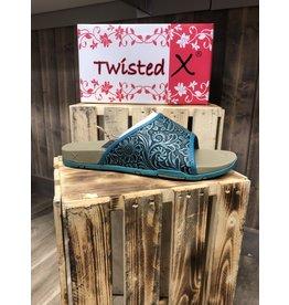 Twisted X LADIES TWISTED X SLIDE DARK TEAL LEATHER SANDAL
