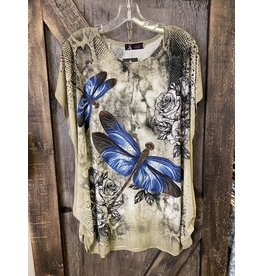 FUN LADIES DRAGONFLY TOP TAUPE