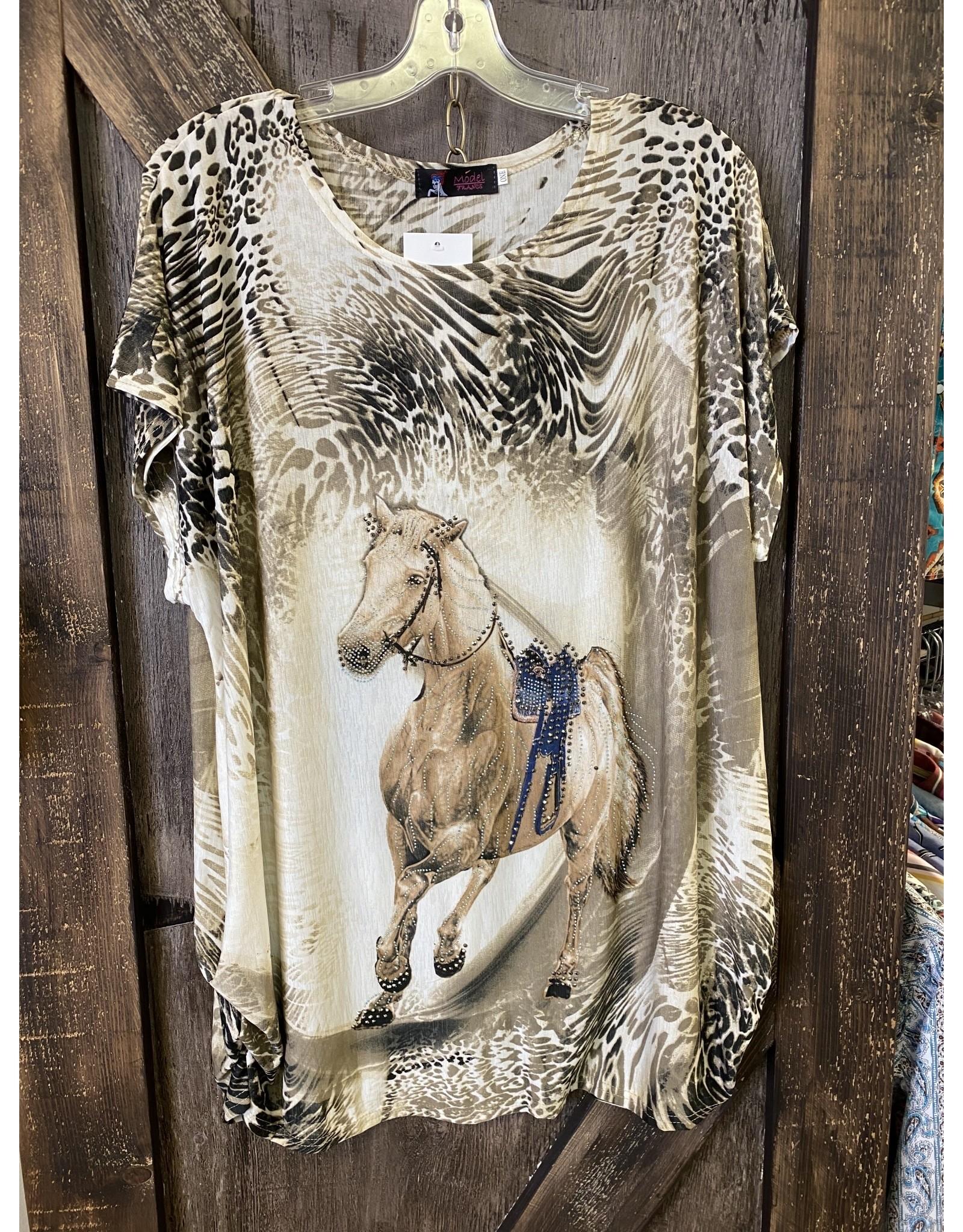 FUN LADIES HORSE TOP BEIGE