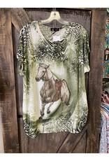 FUN LADIES HORSE TOP GREEN