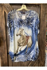 FUN LADIES HORSE TOP NAVY