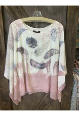 LADIES FASHION PINK FEATHER TOP