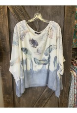 LADIES FASHION BLUE FEATHER TOP