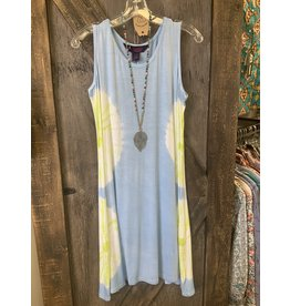 VISCOSE LADIES DRESS BLUE WITH WHITE/YELLOW ACCENT A50304-2