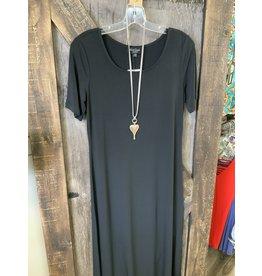 LADIES LONG BLACK STRETCH DRESS