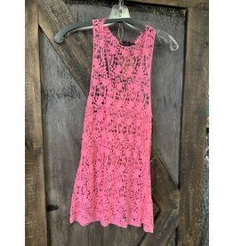 ROCK&ROLL COWGIRL PINK LACE TANK TOP