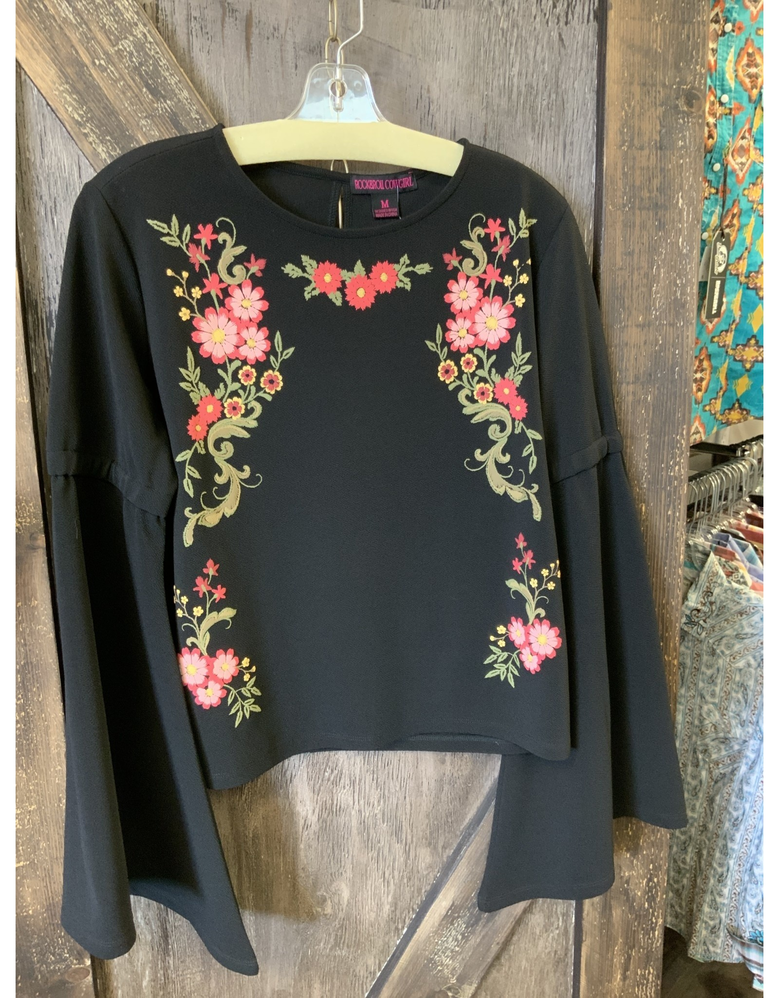 ROCK&ROLL LADIES BELL SLEEVE WITH FLOWERS TOP
