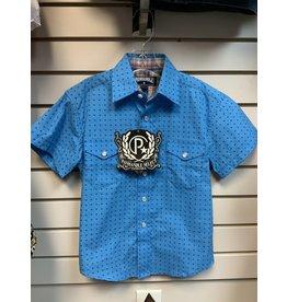 BOY'S C1S1554 BLUE S/S SHIRT