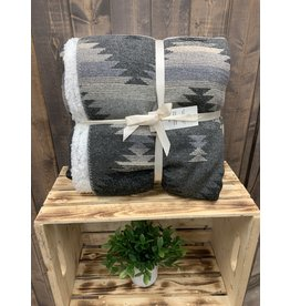 HiEnd Accents SOUTHWEST DESIGN THROW WITH SHEARLING BACK IN BLACK