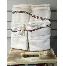 HiEnd Accents EMBROIDERED BARBWIRE TOWEL SET 3 PCE CREAM