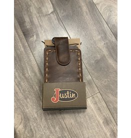 JUSTIN MEN'S LEATHER BONE RAWHIDE WHIP STITCH BROWN CELL PHONE CASE