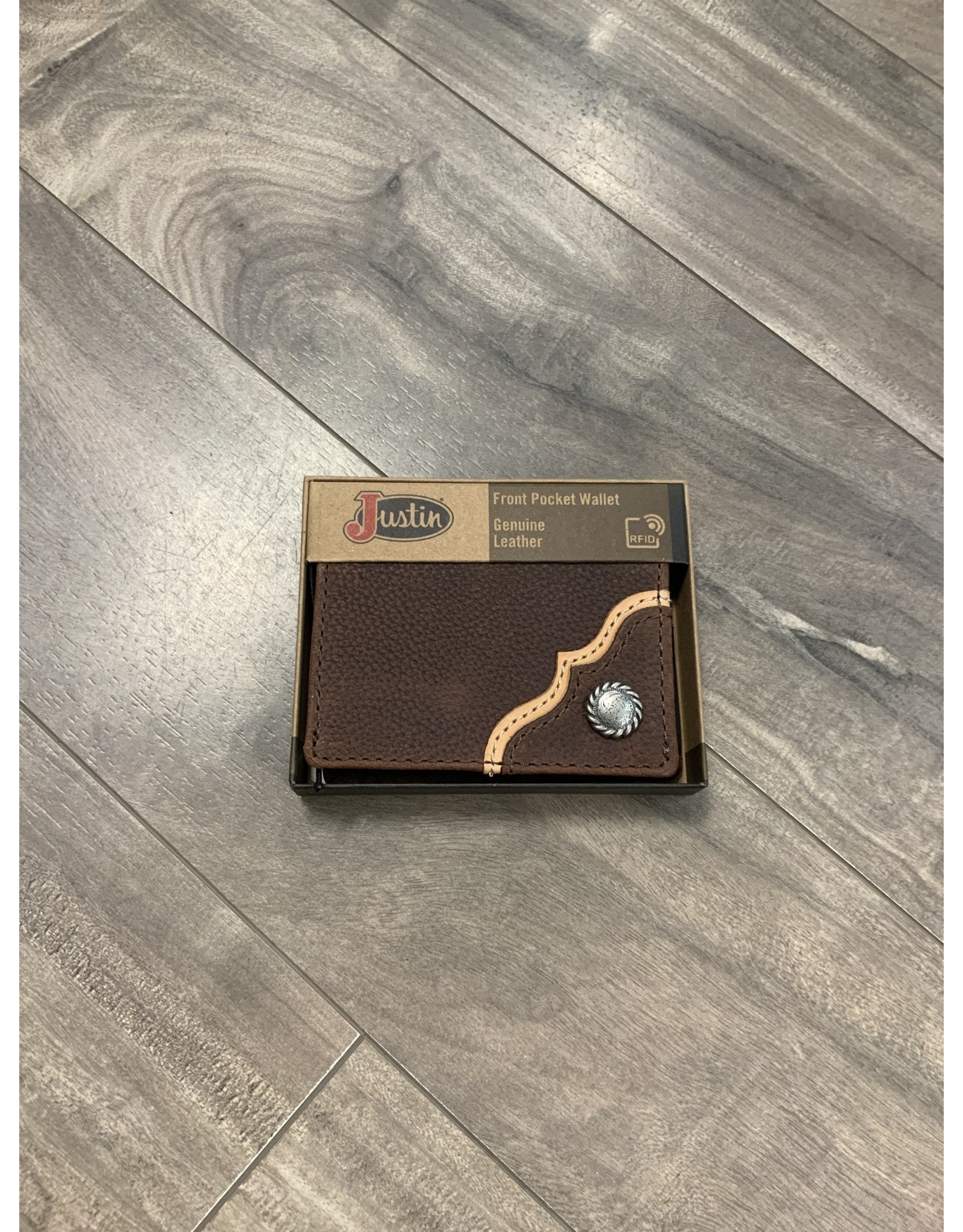 JUSTIN MEN'S BIFOLD LEATHER SILVER CONCHO BROWN WALLET