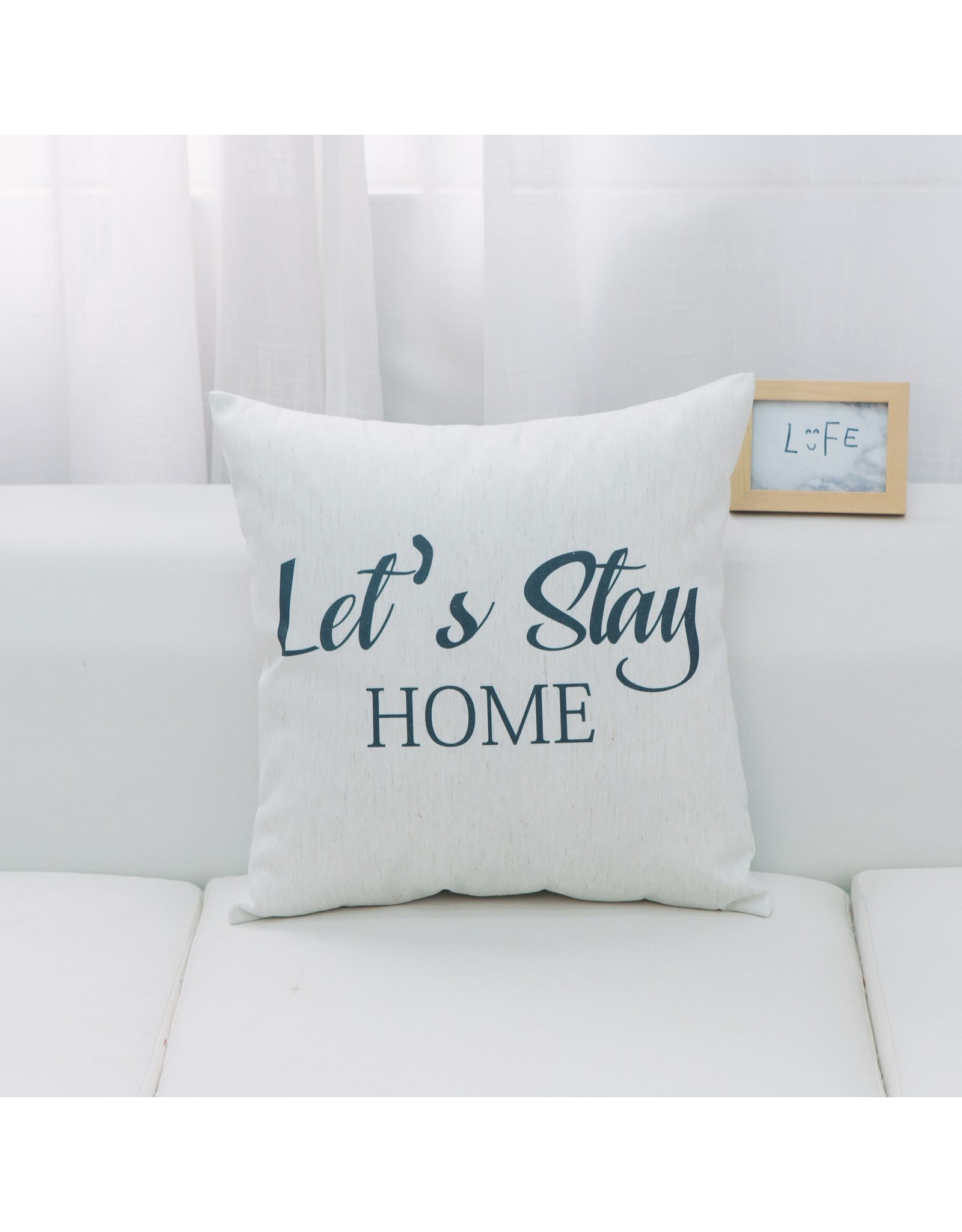 CUSHION LET'S STAY HOME