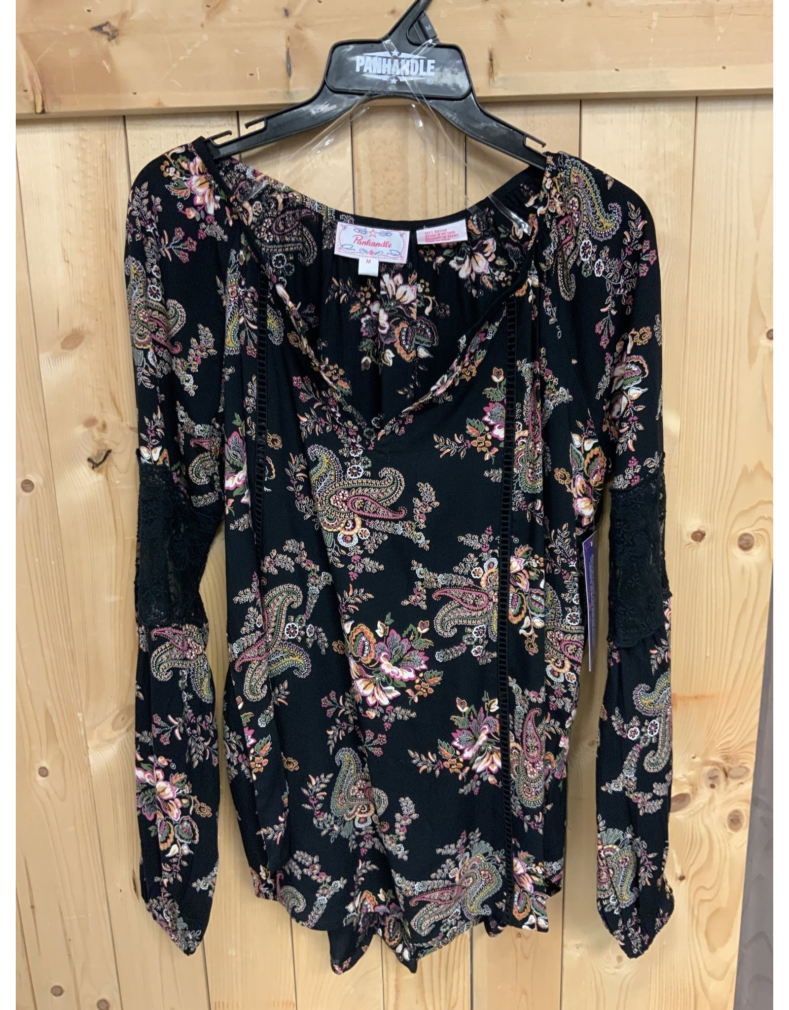 PEASANT L/S BLACK FLOWERED RAYON BLOUSE