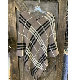 LADIES CHECKERED PONCHO TAUPE