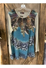 LADIES L/S TUNIC FEATHER GREY TOP