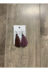 SIMPLE WOODEN PEBBLE EARRINGS - PURPLE