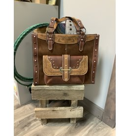 CATCHFLY DEVON LARGE SATCHEL BROWN W/TAN TRIM BAG