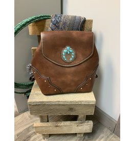 JUSTIN BACKPACK PURSE BROWN WITH TURQ NAJA CONCHO