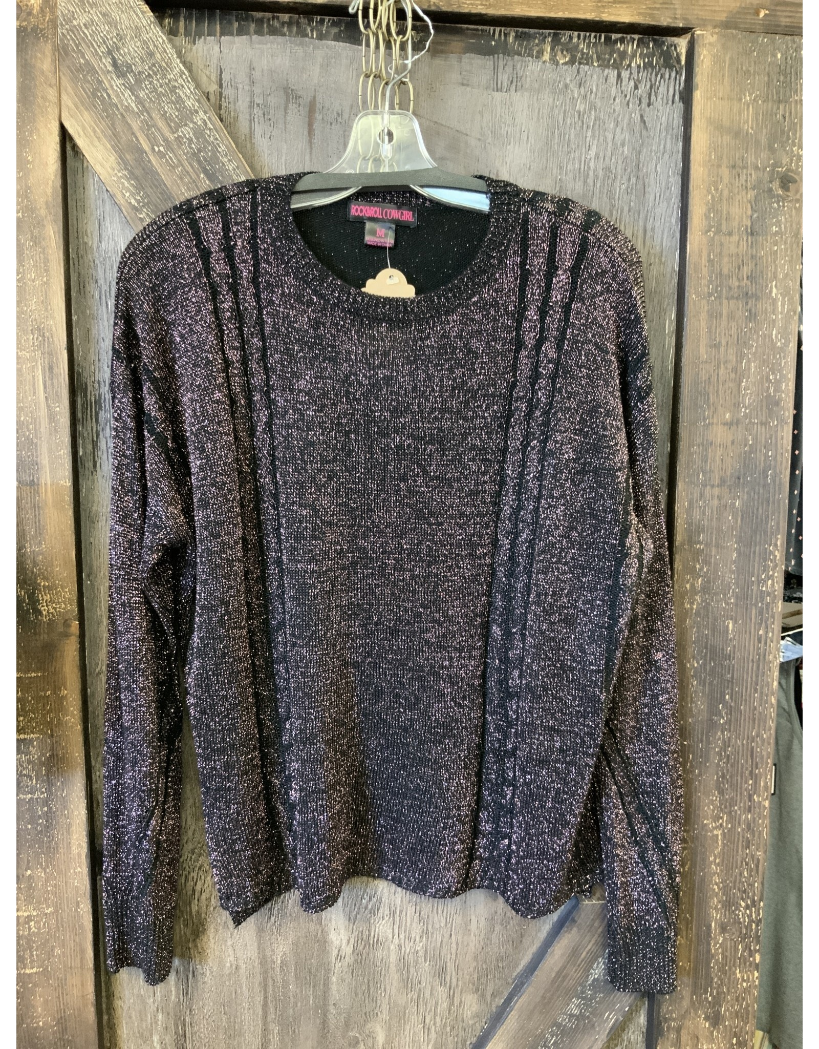 ROCK&ROLL LADIES PINK SPARKLE L/S SWEATER