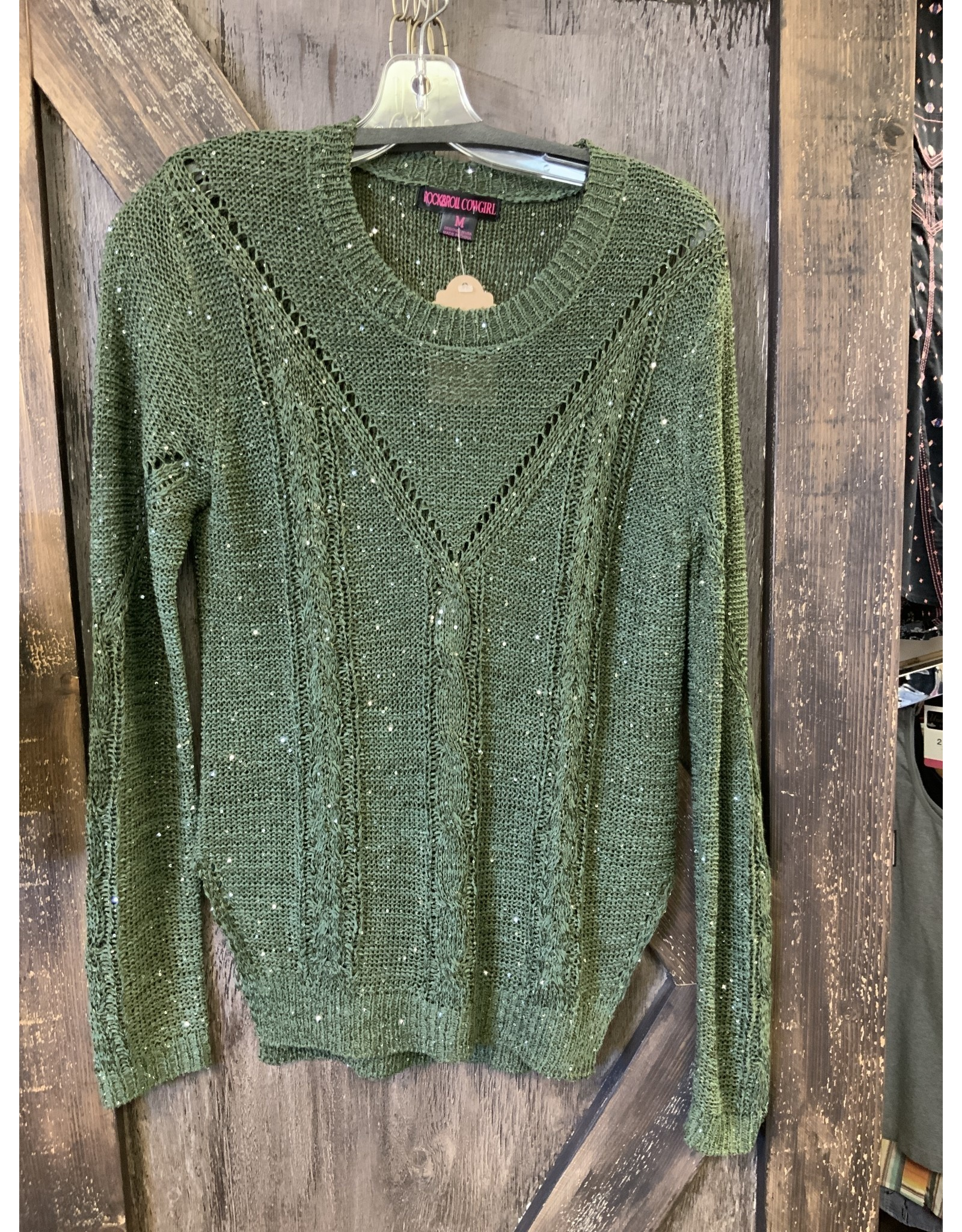 ROCK&ROLL LADIES SPARKLE GREEN L/S SWEATER
