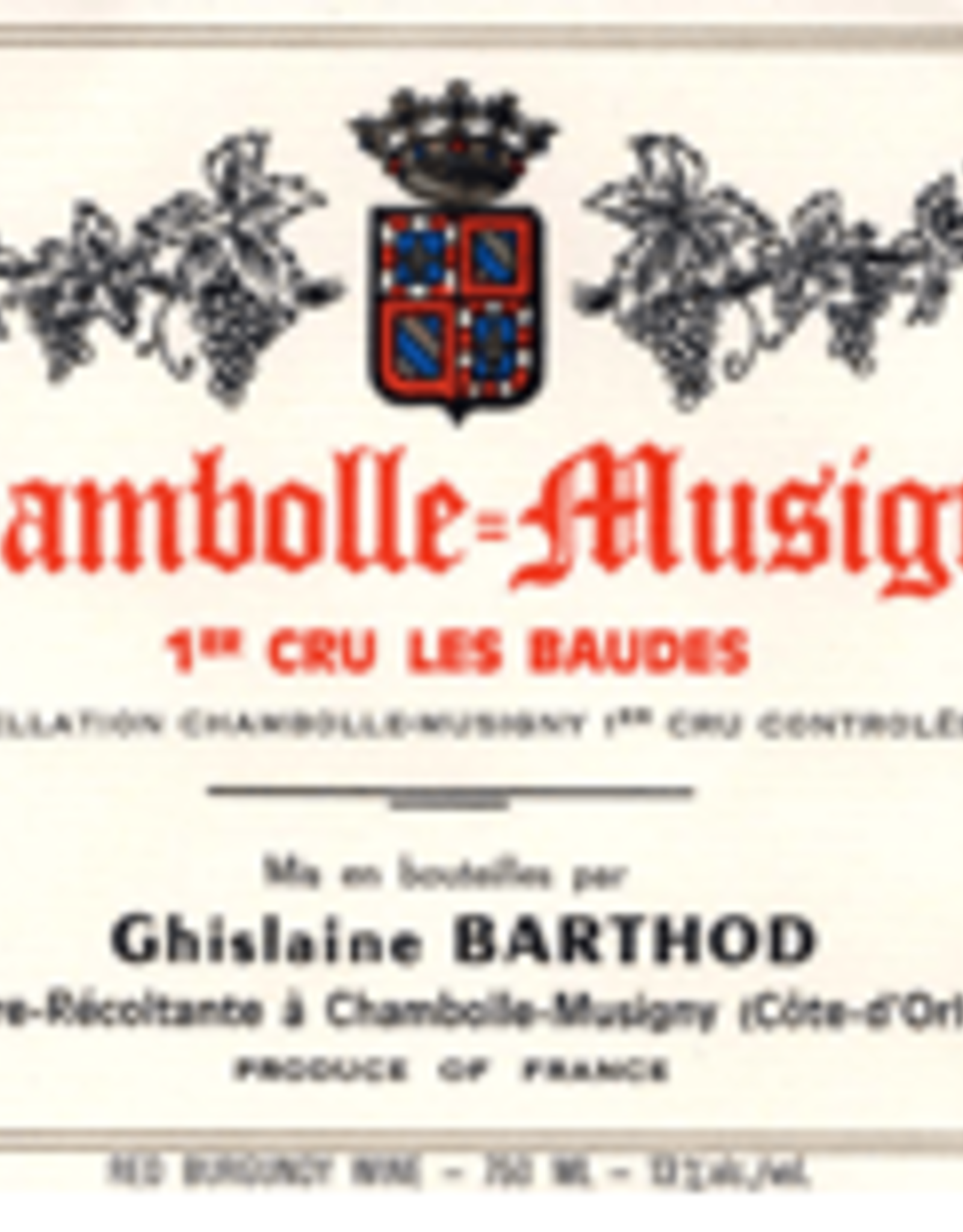 R Burgundy, Chambolle Musigny 1er, LES BAUDES, Barthod 2017